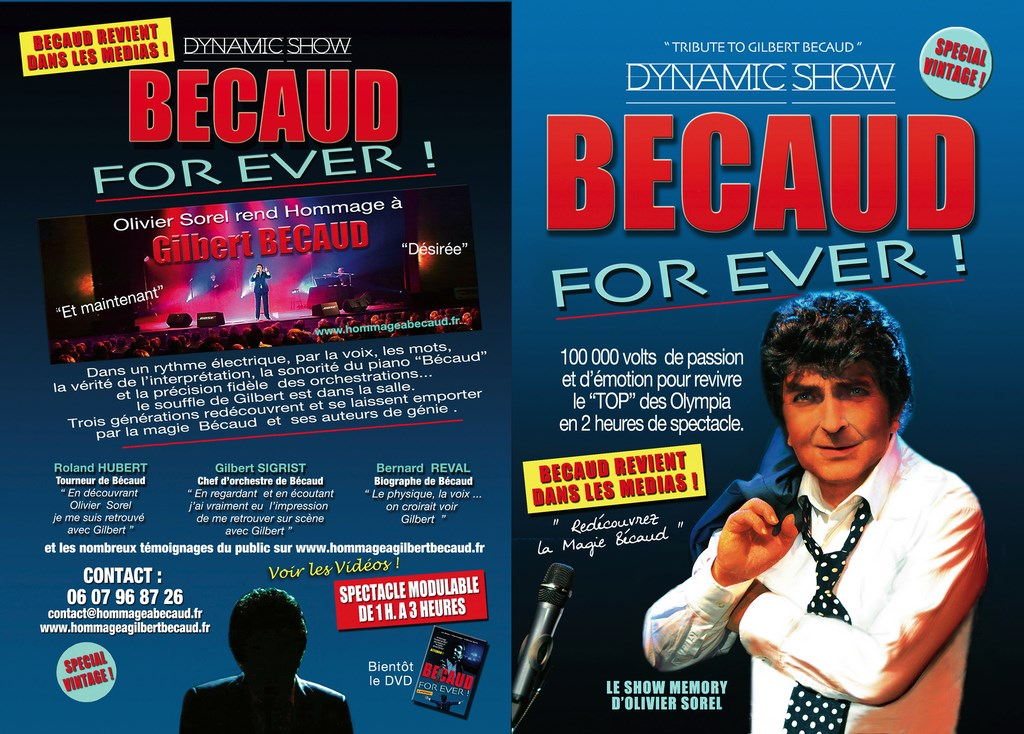 Flyer Dynamic Show Spectacle Hommage Becaud For Ever 2016 Olivier Sorel